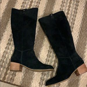 New UGG Tall Black Arana Suede Heeled Boots